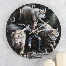 Wandklok Power Of Three - Anne Stokes (Wolf - Wolven)