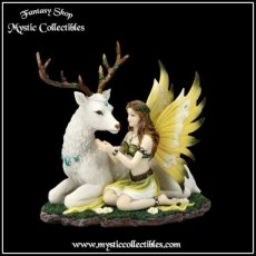 Beeld Fairy With Deer - Adoration (Fee - Hert - Feeën)